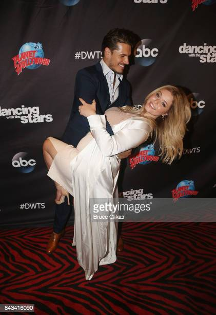 Gleb Savchenko and Sasha Pieterse pose at ABC's 'Dancing with the Stars' Season 5 cast announcement event at Planet Hollywood Times Square on...