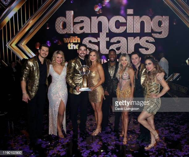 "Gleb Savchenko, Lauren Alaina, Alan Bersten, Hannah Brown, Kel Mitchell, Witney Carson, Sasha Farber and Ally Brooke pose at ""Dancing with the Stars""..."