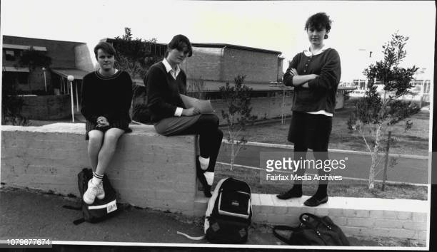 Glebe High School Students Justine Poter Lee James and Kelly Dawson without a Maths Teacher June 1 1986