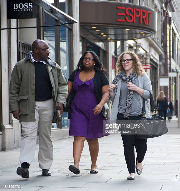 Glee actress Amber Riley is seen shopping at Burberrys and Kurt Geiger on Regent Street on June 16 2010 in London England