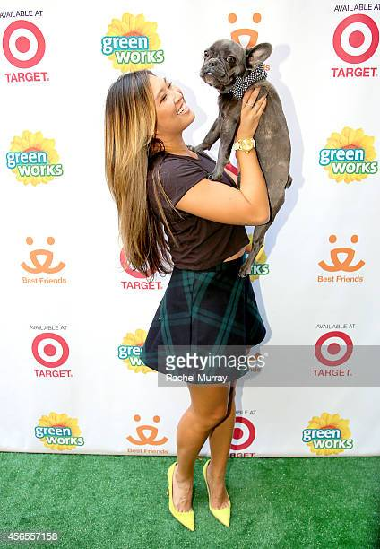 """Glee's"" Jenna Ushkowitz and her dog Bear celebrate the Green Works Muddy Puppy video premiere at the Palihouse Hotel in Los Angeles Calif on October..."