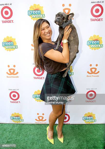"""""""Glee's"""" Jenna Ushkowitz and her dog Bear celebrate the Green Works Muddy Puppy video premiere at the Palihouse Hotel in Los Angeles Calif on October..."""