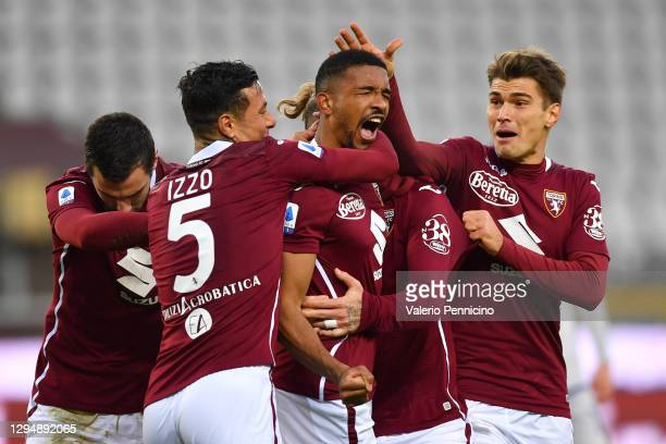 Gleison Bremer of Torino F.C. Celebrates with his team after he scores their team's first goal during the Serie A match between Torino FC and Hellas...