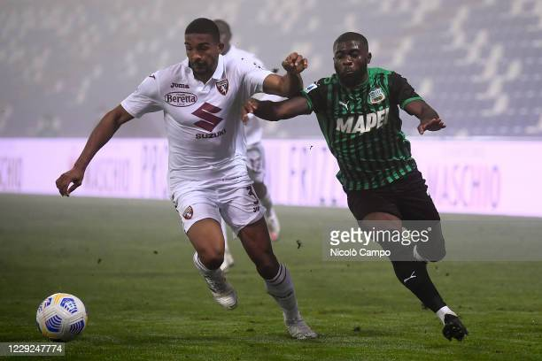 Gleison Bremer of Torino FC is challenged by Jeremie Boga of US Sassuolo during the Serie A football match between US Sassuolo and Torino FC The...