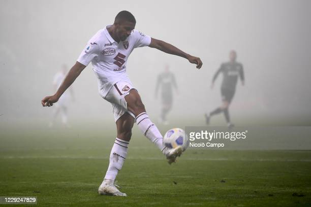 Gleison Bremer of Torino FC kicks the ball during the Serie A football match between US Sassuolo and Torino FC The match ended 33 tie