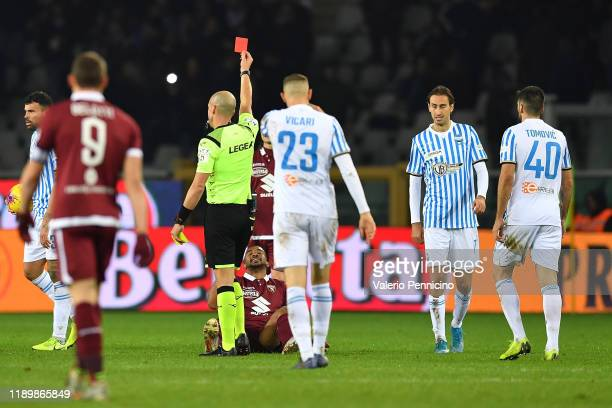 Gleison Bremer of Torino FC receives the red card from referee during the Serie A match between Torino FC and SPAL at Stadio Olimpico di Torino on...