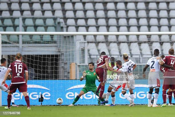 Gleison Bremer of Torino FC scores the opening goal during the Serie A match between Torino FC and Genoa CFC at Stadio Olimpico di Torino on July 16,...