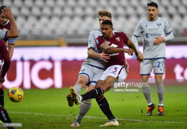 Gleison Bremer of Torino F.C. Scores their team's first goal during the Serie A match between Torino FC and Hellas Verona FC at Stadio Olimpico di...
