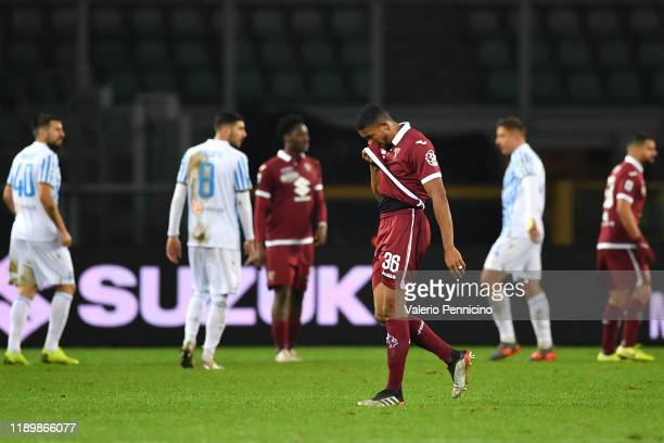 Gleison Bremer of Torino FC walks off after receiving the red card during the Serie A match between Torino FC and SPAL at Stadio Olimpico di Torino...