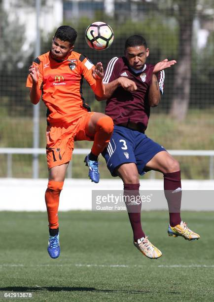 Gleison of Portimonense SC with William Soares of CD Cova da Piedade in action during the Segunda Liga match between CD Cova da Piedade and...