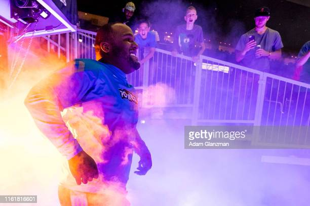 Glen 'Big Baby' Davis of the Power is introduced during week four of the BIG3 three on three basketball league at Dunkin' Donuts Center on July 13,...