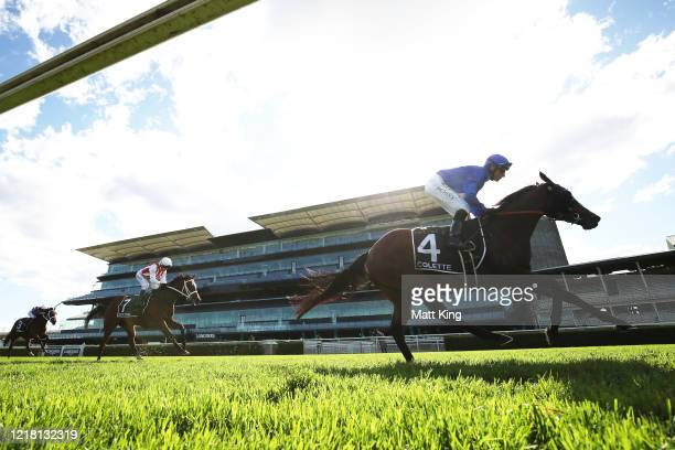 Glen Boss riding Colette wins Race 6The Star Australian Oaks during Sydney Racing The Championships Day 2 Queen Elizabeth Stakes Day at Royal...