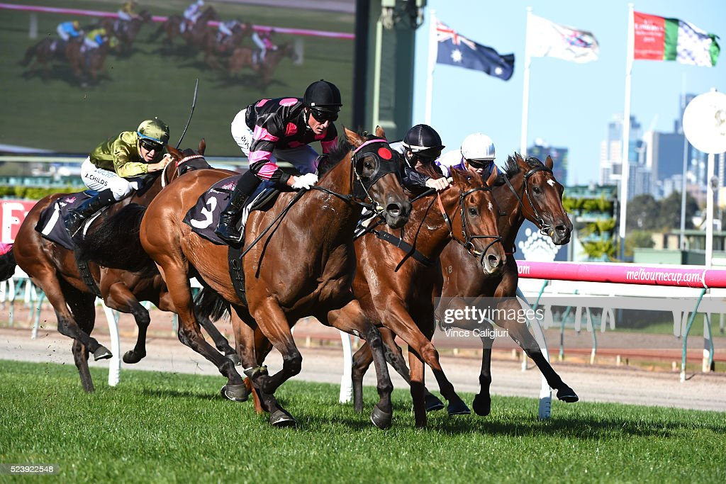 Glen Boss riding Every Faith wins Race 3 during Melbourne ANZAC Day Racing at Flemington Racecourse on April 25, 2016 in Melbourne, Australia.