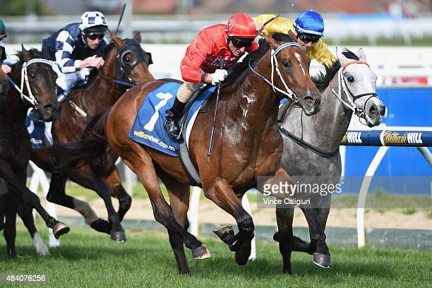 Glen Boss riding Gold Symphony defeats Dwayne Dunn riding Top Me Up in Race 5 the KS Environmental Vain Stakes during Melbourne racing at Caulfield...