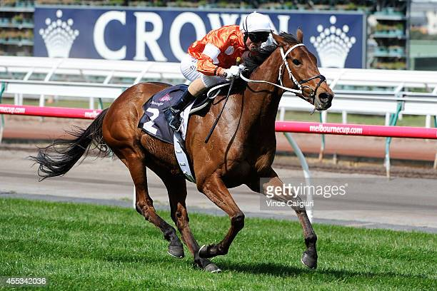 Glen Boss riding Who Shot Thebarman winning Race 2 the Sofitel Girls' DAy Out 2000 during Melbourne Racing at Flemington Racecourse on September 13...