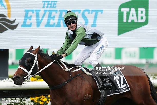 Glen Boss riding Yes Yes Yes celebrates winning race 7 The TAB Everest during The Everest at Royal Randwick Racecourse on October 19, 2019 in Sydney,...