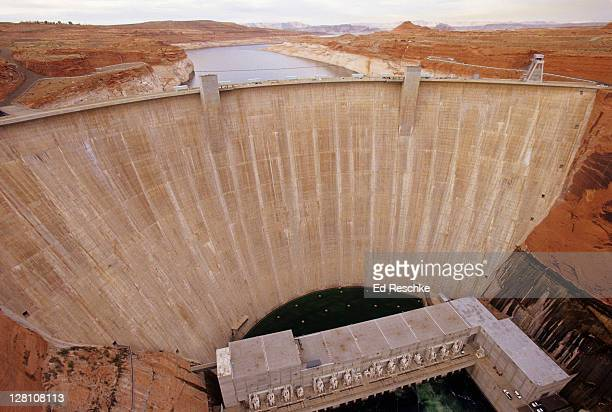 glen canyon dam. hydroelectric dam. page, arizona - ed reschke photography stock photos and pictures