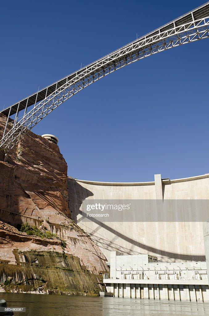 Glen Canyon Dam on Colorado River : Stock Photo