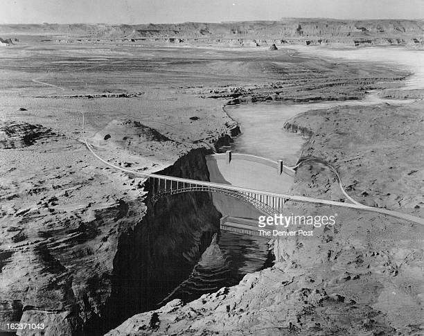 JAN 14 1958 JUL 31 1963 Glen Canyon dam On The Colorado Artist's conception of how completed structure will look