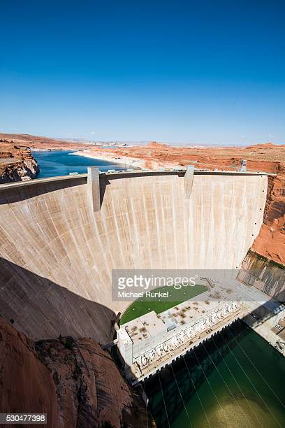 Glen Canyon Dam on the Colorado River in northern Arizona with Lake Powell in the background, Arizona, United States of America, North America