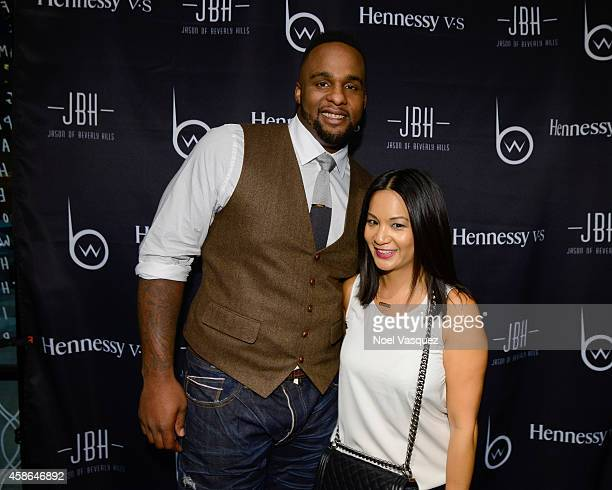 Glen Davis and Hennessy West Coast Marketing Manager ThuyAnh J Nguyen attend Hennessy VS Presents Brandon Williams' Simple is Perfect Capsule...