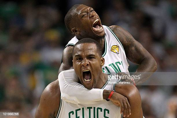 Glen Davis and Nate Robinson of the Boston Celltics react in the fourth quarter against the Los Angeles Lakers during Game Four of the 2010 NBA...