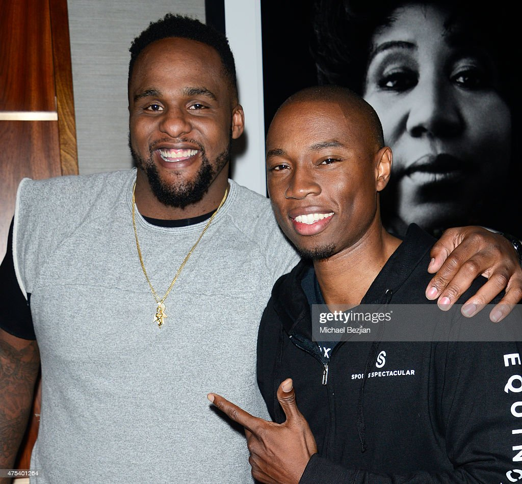 Glen Davis and Robbie Jones attend LA Gear Presents Sports Spectacular Charity Basketball Game Hosted By Tyga on May 30, 2015 in Los Angeles, California.