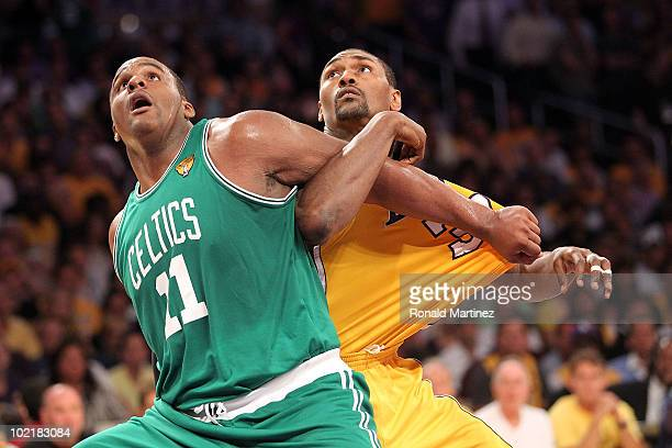 Glen Davis of the Boston Celtics and Ron Artest of the Los Angeles Lakers battle for position on a free throw in the first half of Game Seven of the...
