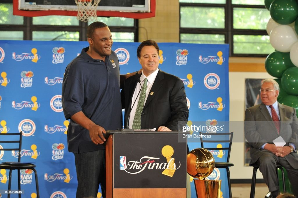 Glen Davis of the Boston Celtics and Stephen Pagliuca, Celtics Co-Owner & Managing Partner, address the members during the unveiling of the Learn & Play Center at the Boston Centers for Youth & Families (BCYF) Tobin Community Center on June 9, 2010 in Boston, Massachusetts.