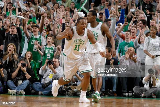 Glen Davis of the Boston Celtics celebrates after scoring against the Cleveland Cavaliers in Game Four of the Eastern Conference Semifinals during...