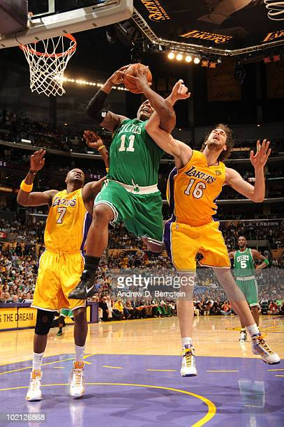 Glen Davis of the Boston Celtics goes up for a shot against Lamar Odom and Pau Gasol of the Los Angeles Lakers in Game Six of the 2010 NBA Finals on...