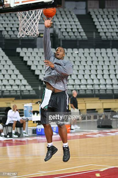 Glen Davis of the Boston Celtics shoots during practice as part of the 2007 NBA Europe Live Tour on October 2, 2007 at the Lottomattica in Rome,...