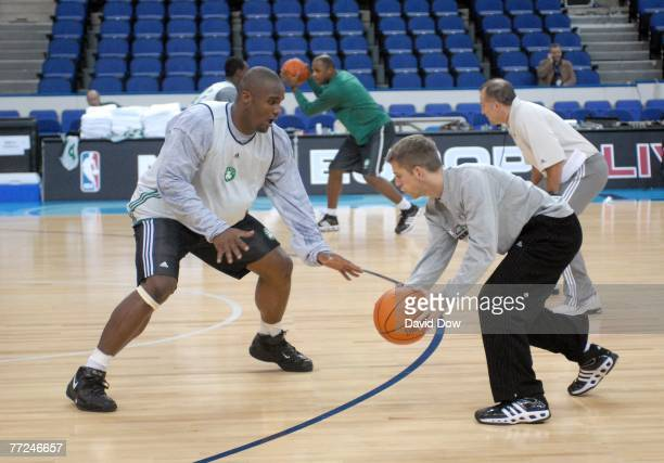 Glen Davis of the Boston Celtics works out during practice at the O2 arena during NBA Europe Live 2007 Tour London on October 8, 2007 in London,...