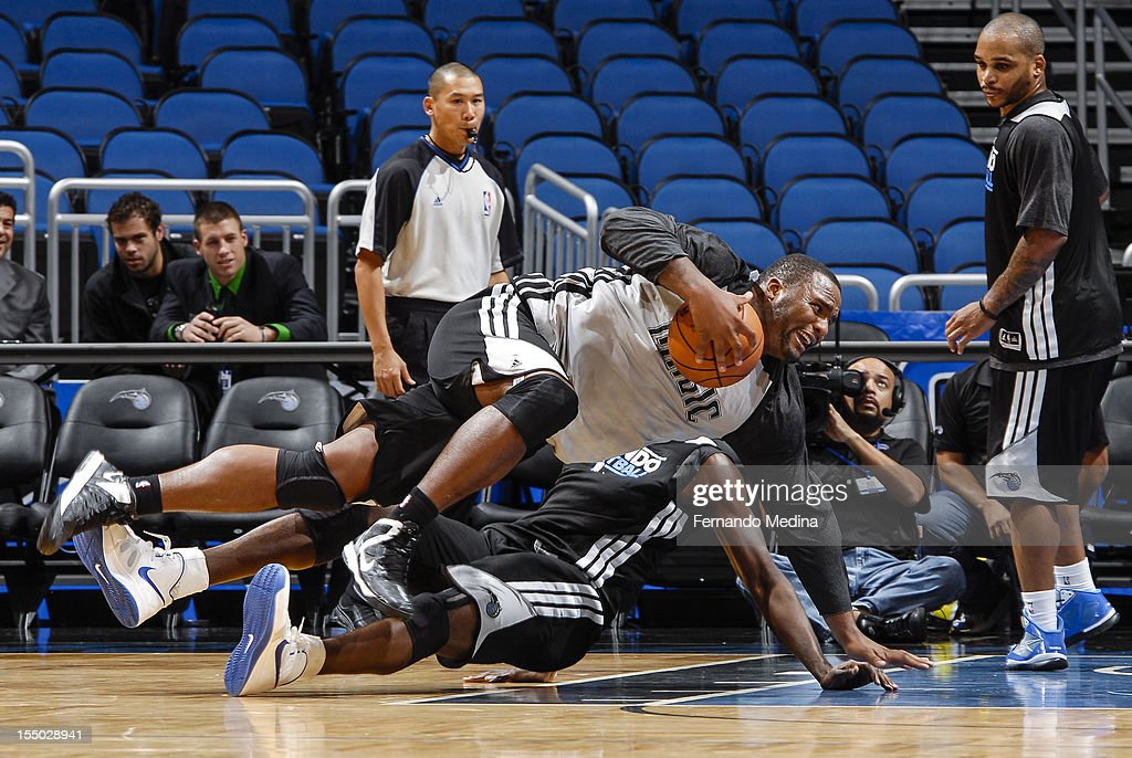 Glen Davis of the Orlando Magic participates in an open practice on October 29, 2012 at Amway Center in Orlando, Florida.