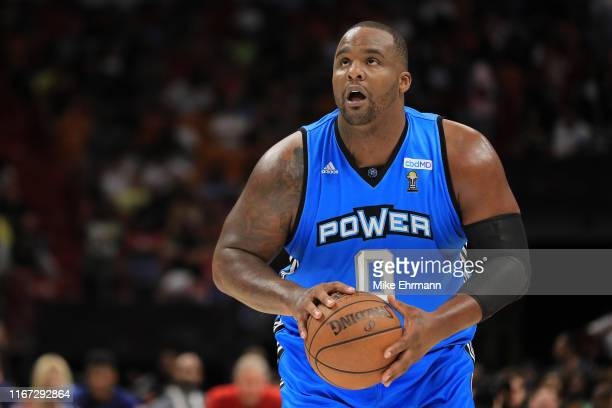 Glen Davis of the Power shoots a free throw during week eight of the BIG3 three on three basketball league at AmericanAirlines Arena on August 10,...