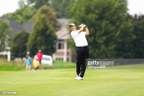 Glen Day hits a shot on the fairway during the final round of the 3M Championship on August 8 2018 at TPC Twin Cities in Blaine Minnesota