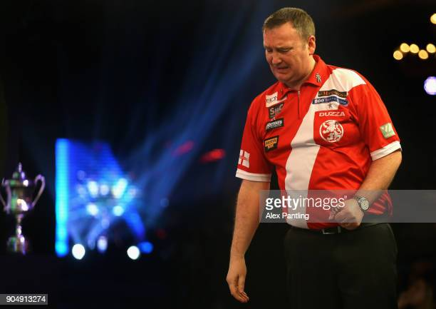 Glen Durrant of England celebrates victory following the final of the BDO World Darts Championship against Mark McGeeney of England at Lakeside...