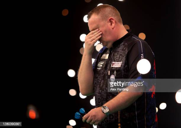 Glen Durrant of England reacts following victory during his semi-final match against Gary Anderson of Scotland during the Unibet Premier League...