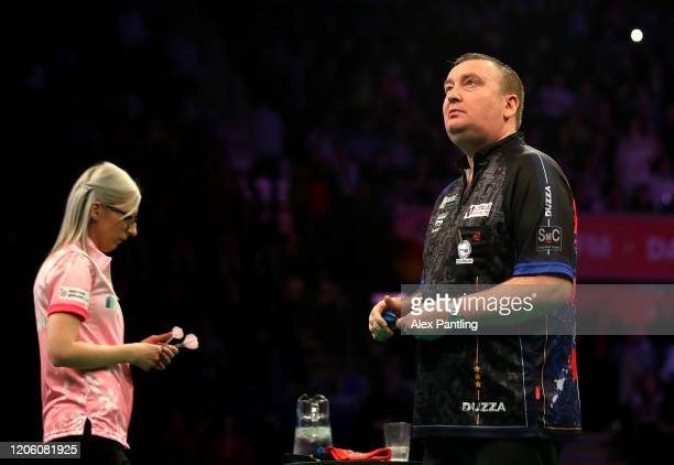 Glen Durrant reacts in his match against Fallon Sherrock during day two of the Unibet Premier League at Motorpoint Arena on February 13 2020 in...