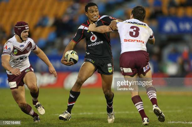 Glen Fisiiahi of the Warriors in action during the round 13 NRL match between the New Zealand Warriors and the Manly Sea Eagles at Mt Smart Stadium...