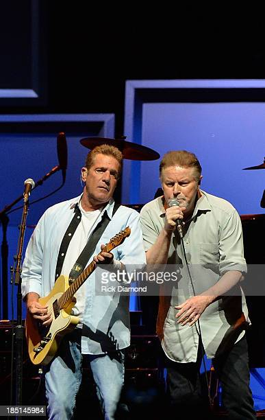 "Glen Frey and Don Henley of the Eagles perform during ""History Of The Eagles Live In Concert"" at the Bridgestone Arena on October 16, 2013 in..."