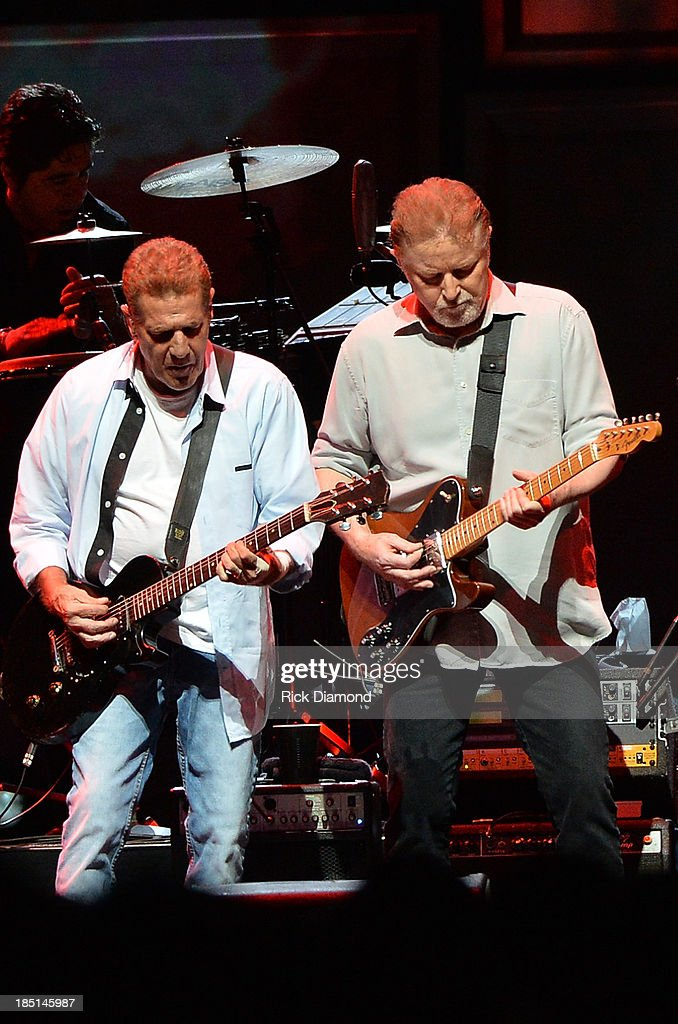 Glen Frey and Don Henley of the Eagles perform during 'History Of The Eagles Live In Concert' at the Bridgestone Arena on October 16, 2013 in Nashville, Tennessee.