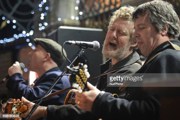 Glen Hansard joins other Irish musicians and takes part in the annual Christmas Eve busk in aid of the Dublin Simon Community outside the Gaiety...