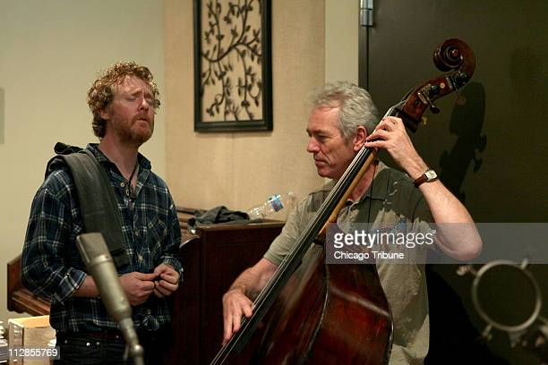 Glen Hansard of the group Swell Season Monday sings with bass player John Giblin on July 27 2010 for a recording session at Butcher Boy studios in...