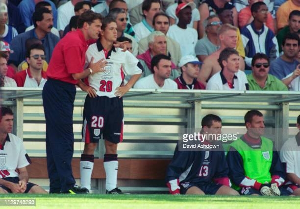 Glen Hoddle and Micheal Owen during England v Tunisia at the Stade Velodrome Marseille during the FIFA World Cup in France 15th June 1998