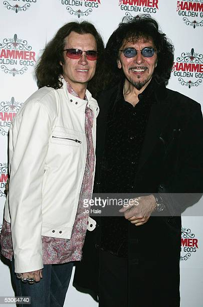 Glen Hughes of Deep Purple and Tony Iommi of Black Sabbath pose in the awards room at The Metal Hammer Golden Gods Awards at the The Astoria June 13...