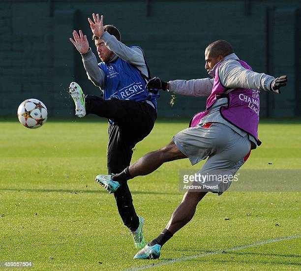 Glen Johnson and Alberto Moreno of Liverpool during a training session prior the match between PFC Ludogorets Razgrad and Liverpool at Melwood...