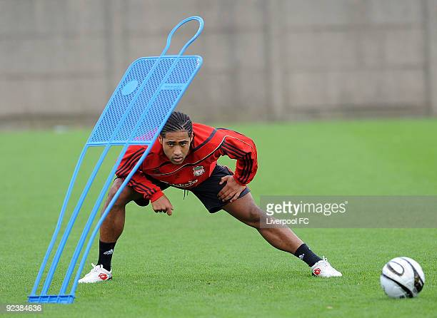 Glen Johnson attends a training session at Melwood Training Ground on October 27, 2009 in Liverpool United Kingdom.