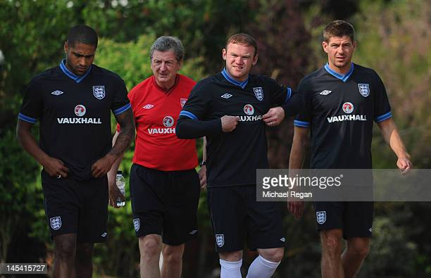 Glen Johnson England manager Roy Hodgson Wayne Rooney and Steven Gerrard look on during the England training session on May 29 2012 in London Colney...