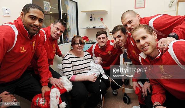 Glen Johnson Jamie Carragher Jack Robinson Jon Flanagan Martin Skrtel and Peter Gulacsi of Liverpool FC visit Alder Hey Children's Hospital on...